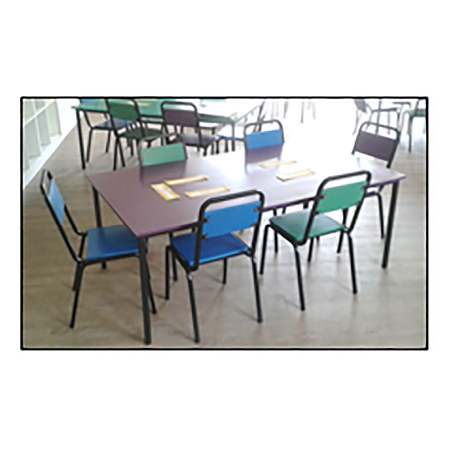 Rectangular Table with Student Chairs