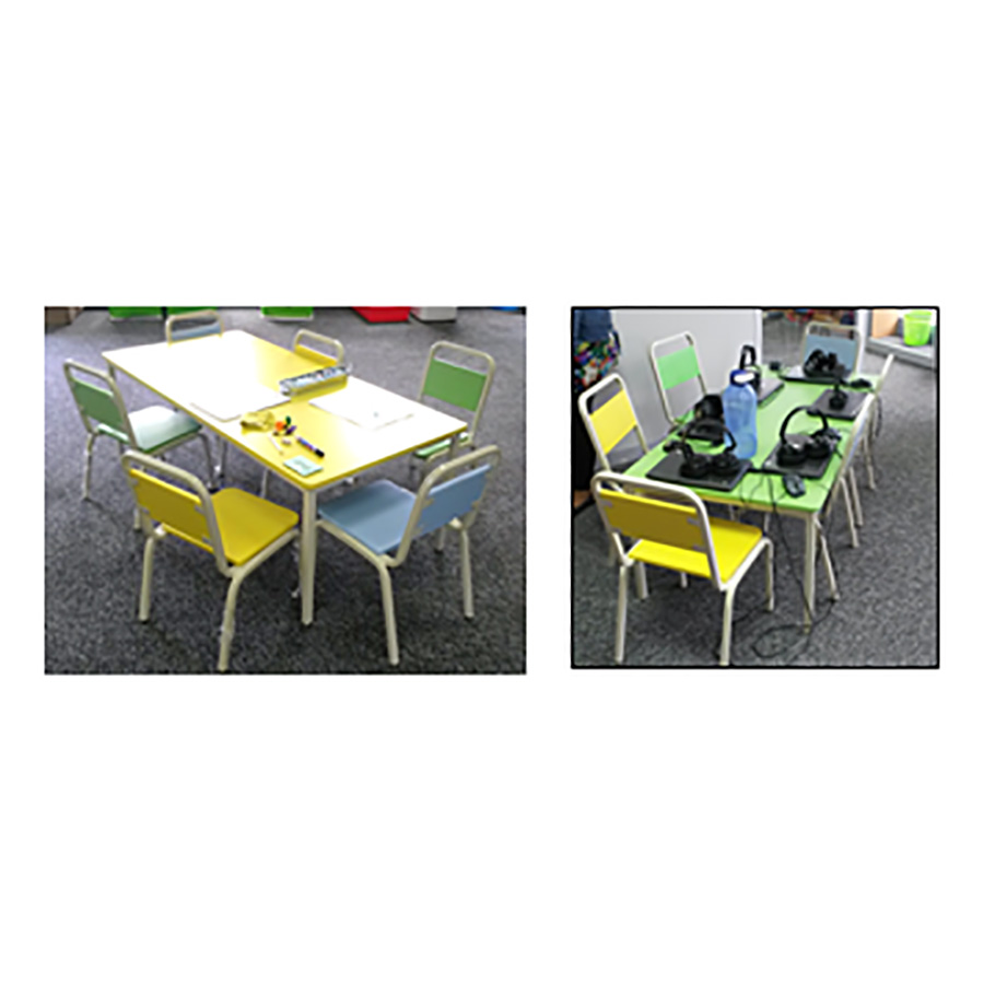 Rectangular table in colour
